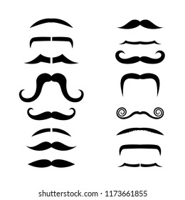 Set of isolated vector facial beards style.Beards and mustaches types.mustache vintage style.