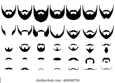 Set of isolated vector facial hair style. Beards and mustaches types. barber big collection. Silhouette vintage beard and mustache. Barber cartoon black beard label. Hipster style barber beard icon.