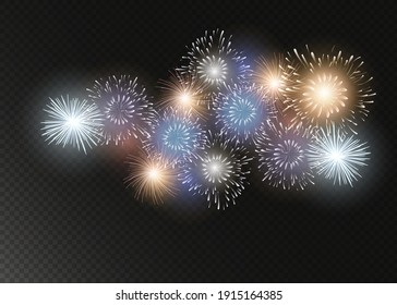 set of isolated vector fireworks on transparent background.