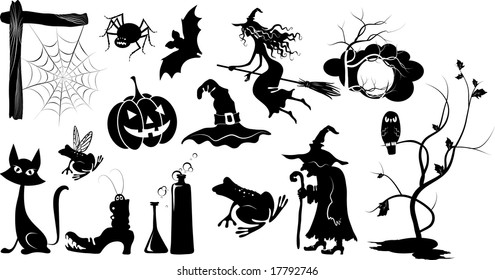 set of isolated vector halloween silhouettes