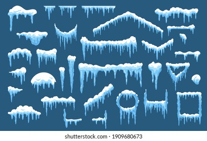 Set of isolated vector ice and snow shapes for house or home roof. Frost circle and rectangle shapes for new year and christmas. Xmas holiday snowcap pile with hanging icicle. Icy and winter snowy cap