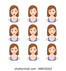 Set of isolated vector illustrations in cartoon style of beautiful woman with different emotions and facial expressions.