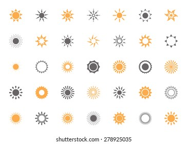 Set of isolated vector sun icons
