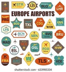 Set of Isolated Vector Tags with Europe Airport Codes. Mix of Airplane Labels. Vector Illustration for Travelers: Famous Europe Airport Abbreviations