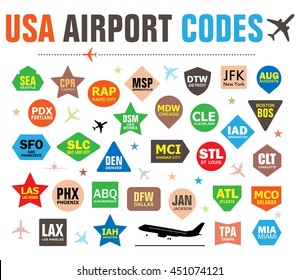Set of Isolated Vector Tags with USA Airport Codes. Mix of Airplanes and Labels. Vector Illustration for Travelers: Famous American Airport Abbreviations on White