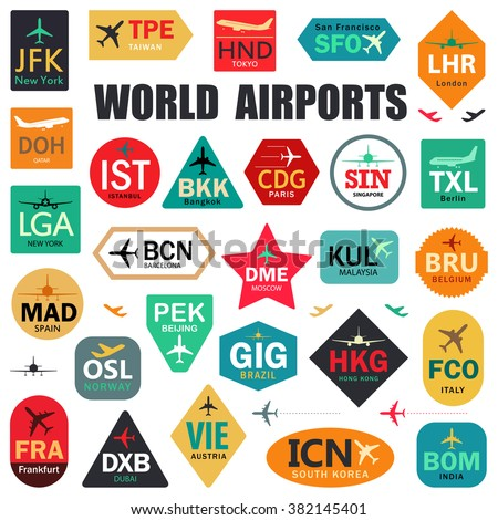 Set of Isolated Vector Tags with World Airport Codes. Mix of Airplane Labels. Vector Illustration for Travelers: Famous Airport Abbreviations on White