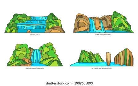 Set of isolated vector Thailand or asian natural landscapes. Thai Erawan waterfall and Haew Suwat fall, Khlong Lan and Ao Phang Nga national park. Asian tourism symbol and sian outdoor sign
