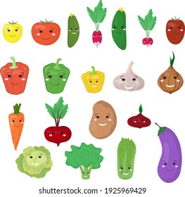 Set of isolated vegetables in cartoon style. Vector illustration