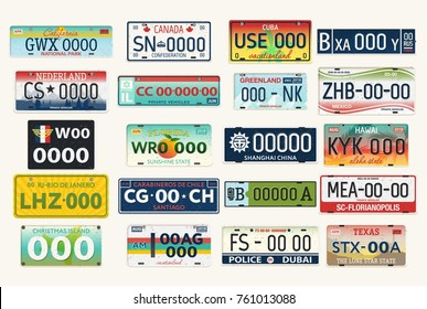 Set of isolated vehicle registration plates. Auto or car, automobile numbers for usa and canada, russia and netherland, israel and mexico, china and dubai. Automobile identifier, driving travel theme