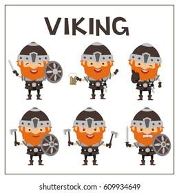 Set isolated viking in different poses on white background.