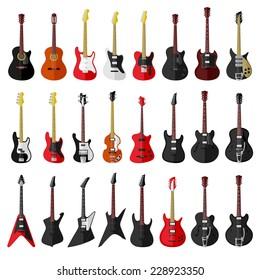 Set of isolated vintage guitars. Flat design. Vector illustration