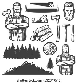 Set of isolated vintage lumberjack emblem elements woodsman character tools trees and mountains landscape constructor images vector illustration