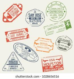 Set of isolated visa passport stamps of arriving to Ottawa, Costa-Rica, Cambodia, UAE, Switzerland, Japan, UK, Australia, USA China