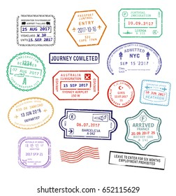 Set of isolated visa passport stamps for travel to United Kingdom heathrow airport, Singapore or New York city in USA, Sydney city in Australia or France. Tourism sign, arrival document, airport stamp