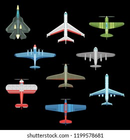 Set of isolated war plane icons. Top view on military and delivery aircraft like F-22 and F-16, MIG-17 and spitfire monoplane. Combat airliner and bomber, warplane, fighter jet. War, transport theme