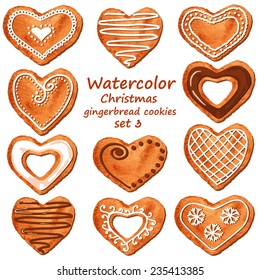 Set of isolated watercolor Christmas heart shape gingerbread cookies. Vector illustration