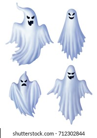 Set of isolated white ghosts, ghost characters, EPS 10 contains transparency.