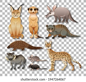 Set of isolated wild african animals on transparent background illustration