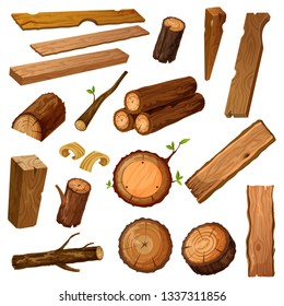 Set of isolated wood bark and tree log, brown timber trunk with wooden chips or flinders, stump or stub, textured stock of hardwood material. Firewood and crust, oak lumber and woodpile. Nature theme