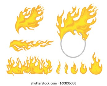 Set of isolated yellow cartoon flames on white background