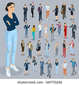 Set of isometric 3d flat design vector people different characters, styles and professions. Isometric acting woman wearing a skirt full length diverse acting poses collection.