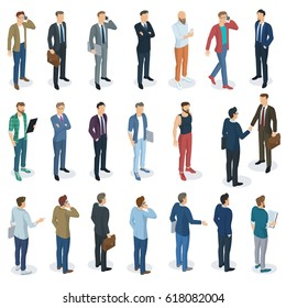 Set of isometric 3d flat design vector standing  men different characters, styles and professions. Front and back view, various characters, professions, poses and styles. Vector mock up element set.