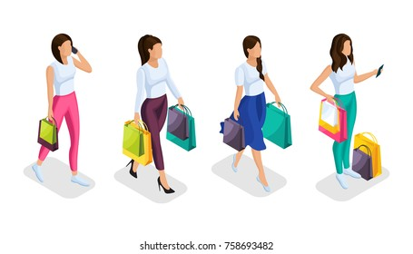 A set of isometric 3d people are engaged in holiday shopping. Girls buy gifts with bright packages. Women in different poses in colored clothes.Vector illustration.