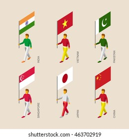 Set of isometric 3d people with flags of Asian countries. Standard bearers infographic - India, Vietnam, China, Singapore, Pakistan, Japan.