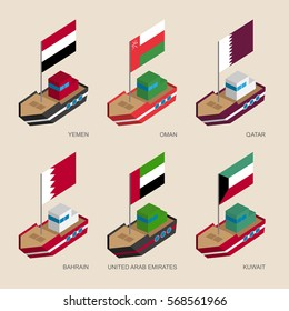 Set of isometric 3d ships with flags of Gulf countries. Cartoon vessels with standards - Yemen, Oman, Qatar, UAE, Kuwait, Bahrain. Sea transport icons for infographics.
