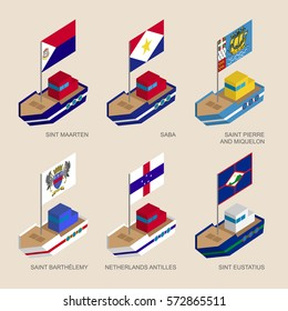 Set of isometric 3d ships with flags of Caribbean countries. Vessels with standards - Sint Maarten, Saba, Saint Pierre, Saint Barthelemy, Netherlands Antilles, Sint Eustatius. Sea transport icons.