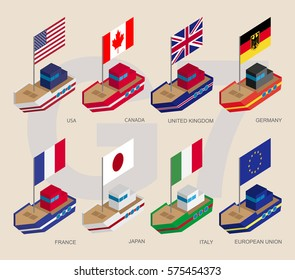 Set of isometric 3d ships with flags of Group of Seven (G7) and European Union. Cartoon vessels with standards - USA, Canada, United Kingdom, Germany, France, Japan, Italy, EU. Sea transport icons.