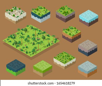 Set Isometric 3d trees forest nature elements white background for landscape design. Vector illustration isolated. Icons for city maps, games