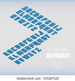 Set of isometric alphabet blue. Vector illustration.