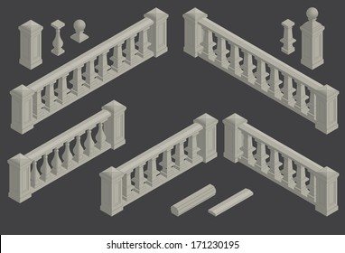 set of isometric architectural element balustrade, vector