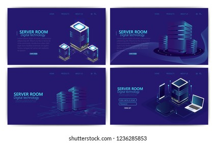 Set of Isometric artificial intelligence business concept, Big data, cloud server technology & data center. Technology and engineering concept, data connection pc smartphone future technology.