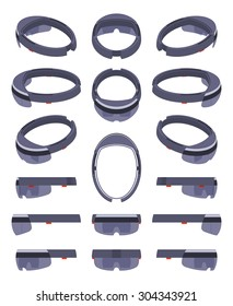 Set of the isometric augmented reality headsets. The objects are isolated against the white background and shown from different sides