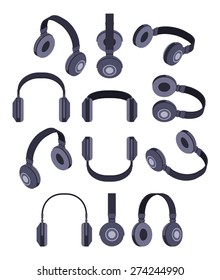 Set of the isometric black headphones. The objects are isolated against the white background and shown from different sides