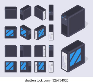 Set of the isometric black PC cases. The objects are isolated against the pale-violet background and shown from different sides