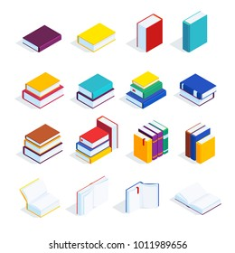 Set of isometric books isolated on white background. 3d books with bookmarks, open books and closed, stacked. Piles of books. Vector illustration.