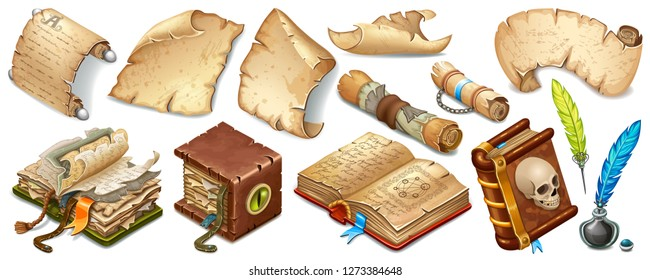 Set isometric books of magic spells and witchcraft, royal scrolls and parchments, old rice paper. Fairy tale icon in cartoon style  for computer game. Isolated 3d vector illustration.