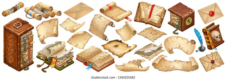Set isometric books of magic spells and witchcraft, royal scrolls and parchments, old sheets of paper post paper envelope sealed with wax seal for computer game. Isolated 3d vector illustration.