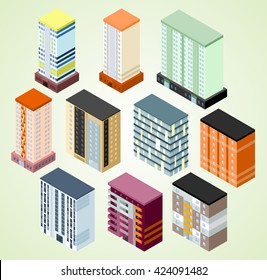 Set of isometric building icons for map building