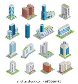 Set of isometric buildings including modern skyscrapers from glass and concrete and multistory houses isolated vector illustration