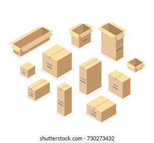 Set of isometric cardboard boxes isolated on white. Set closed and open cardboard boxes. Vector illustration.