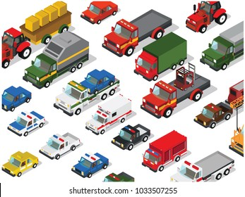Set of isometric cars,trucks