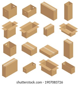 Set of isometric carton packaging boxes. Closed and open cardboard box. Isolated on white background.