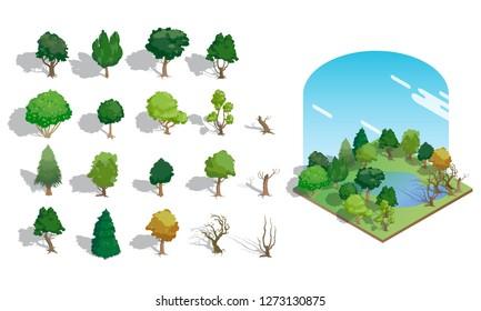 Set of Isometric character green  tree bushes garden decoration , vector illustraion.