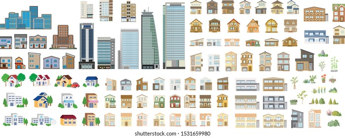 Set of isometric city buildings. Real estate, apartment, skyscraper, house and more