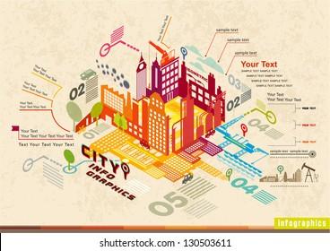 Set of isometric city social infographics, City of info graphics Graphics, illustrator Vector