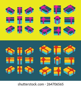 Set of the isometric colored gift boxes. The objects are isolated and shown from different sides